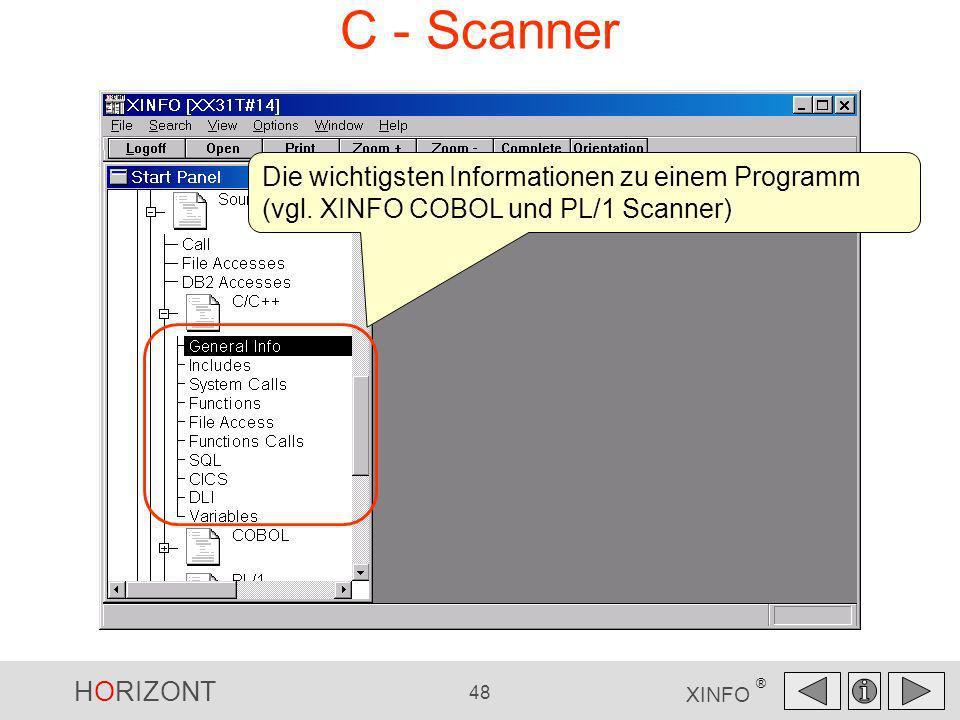 HORIZONT 48 XINFO ® C - Scanner Die wichtigsten Informationen zu einem Programm (vgl. XINFO COBOL und PL/1 Scanner)