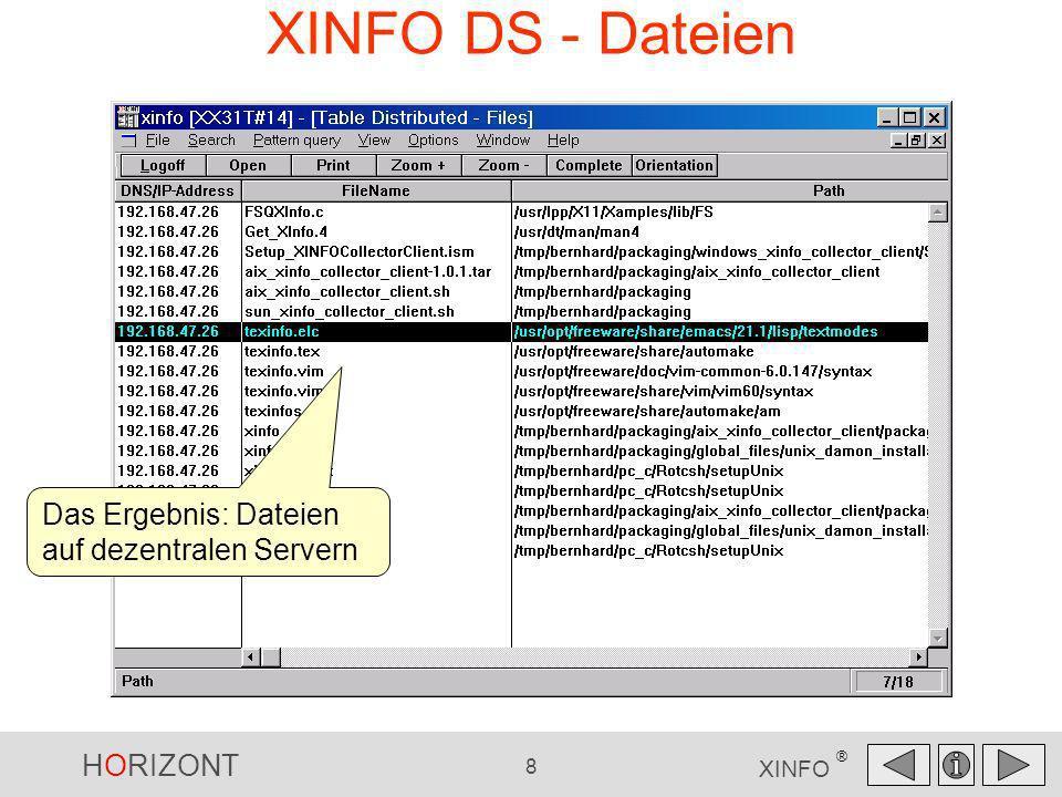 HORIZONT 8 XINFO ® XINFO DS - Dateien Das Ergebnis: Dateien auf dezentralen Servern