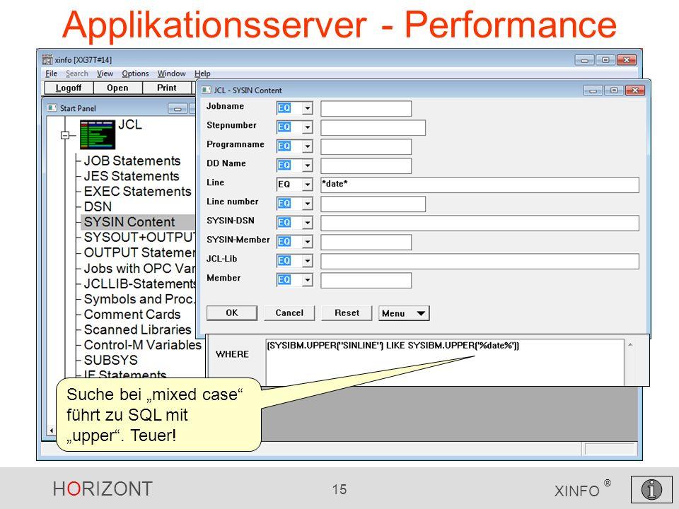 HORIZONT 15 XINFO ® Applikationsserver - Performance Suche bei mixed case führt zu SQL mit upper. Teuer!