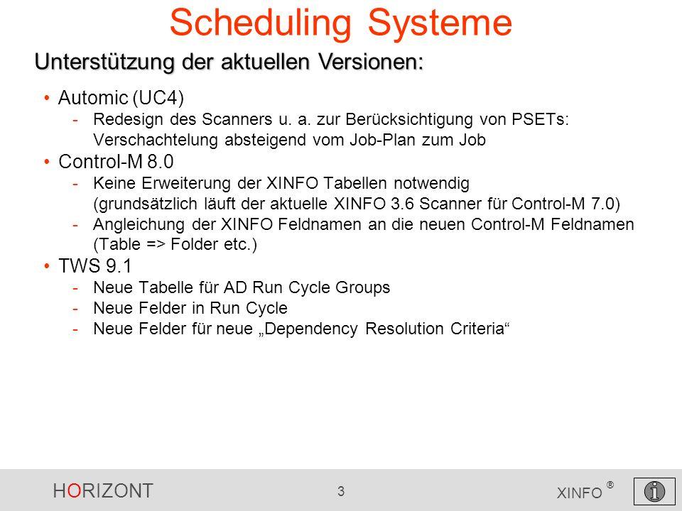 HORIZONT 3 XINFO ® Automic (UC4) -Redesign des Scanners u. a. zur Berücksichtigung von PSETs: Verschachtelung absteigend vom Job-Plan zum Job Control-