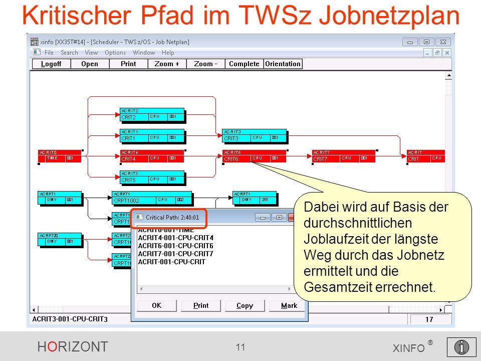 HORIZONT 11 XINFO ® Kritischer Pfad im TWSz Jobnetzplan Dabei wird auf Basis der durchschnittlichen Joblaufzeit der längste Weg durch das Jobnetz ermi