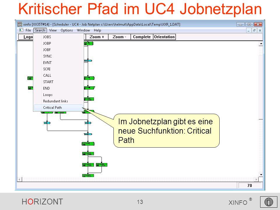 HORIZONT 13 XINFO ® Kritischer Pfad im UC4 Jobnetzplan Im Jobnetzplan gibt es eine neue Suchfunktion: Critical Path