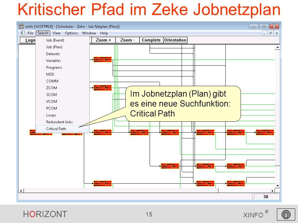 HORIZONT 15 XINFO ® Kritischer Pfad im Zeke Jobnetzplan Im Jobnetzplan (Plan) gibt es eine neue Suchfunktion: Critical Path