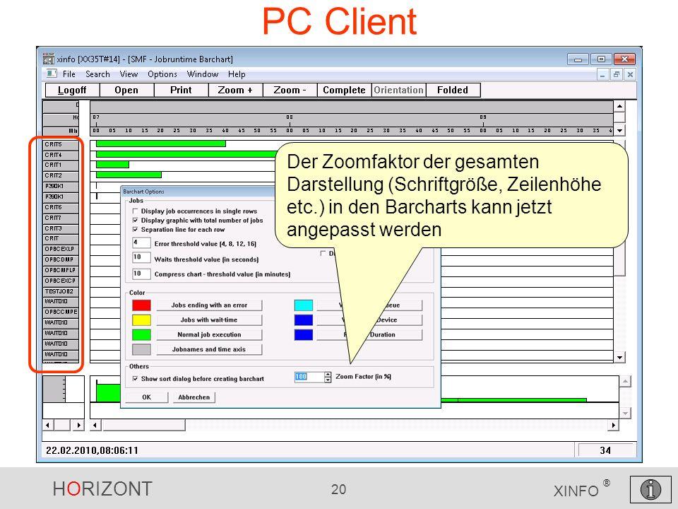 HORIZONT 20 XINFO ® PC Client Der Zoomfaktor der gesamten Darstellung (Schriftgröße, Zeilenhöhe etc.) in den Barcharts kann jetzt angepasst werden