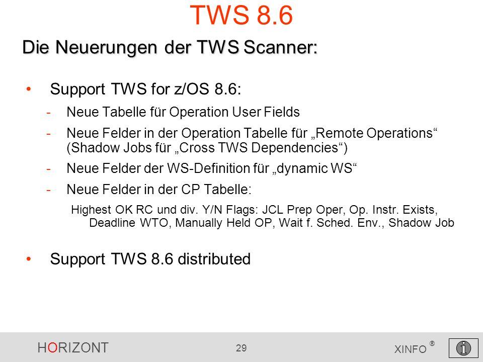 HORIZONT 29 XINFO ® TWS 8.6 Support TWS for z/OS 8.6: -Neue Tabelle für Operation User Fields -Neue Felder in der Operation Tabelle für Remote Operati