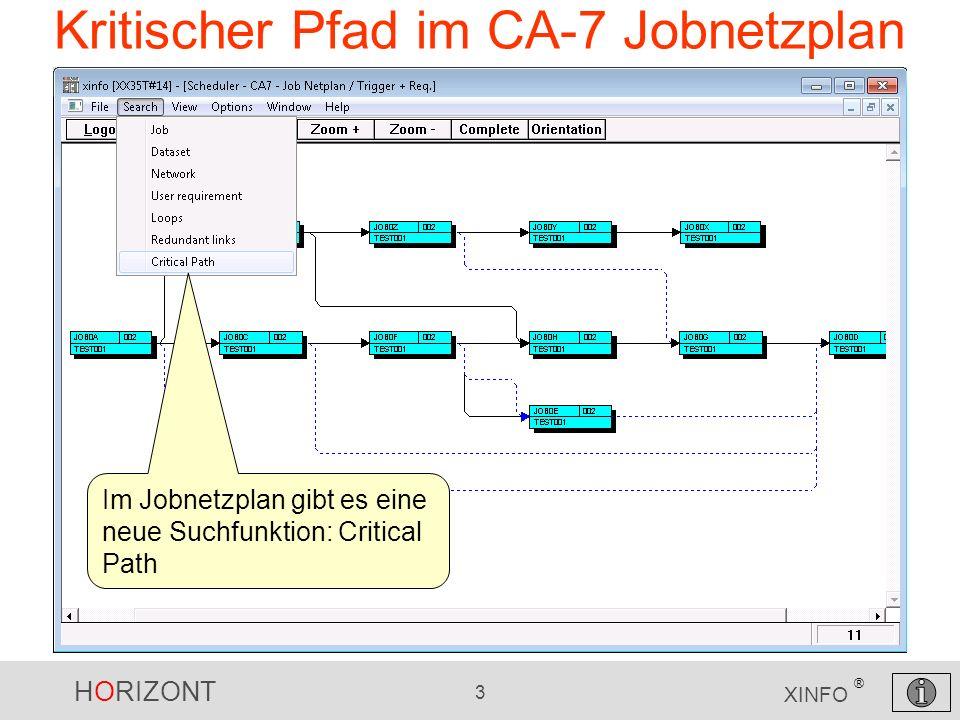 HORIZONT 3 XINFO ® Kritischer Pfad im CA-7 Jobnetzplan Im Jobnetzplan gibt es eine neue Suchfunktion: Critical Path