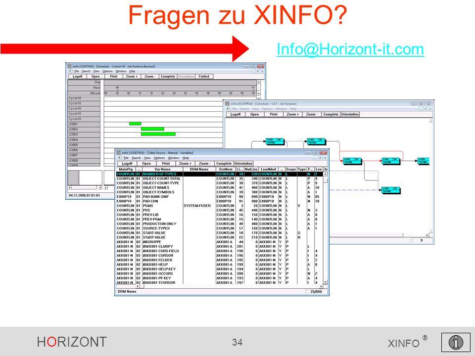 HORIZONT 34 XINFO ® Fragen zu XINFO? Info@Horizont-it.com