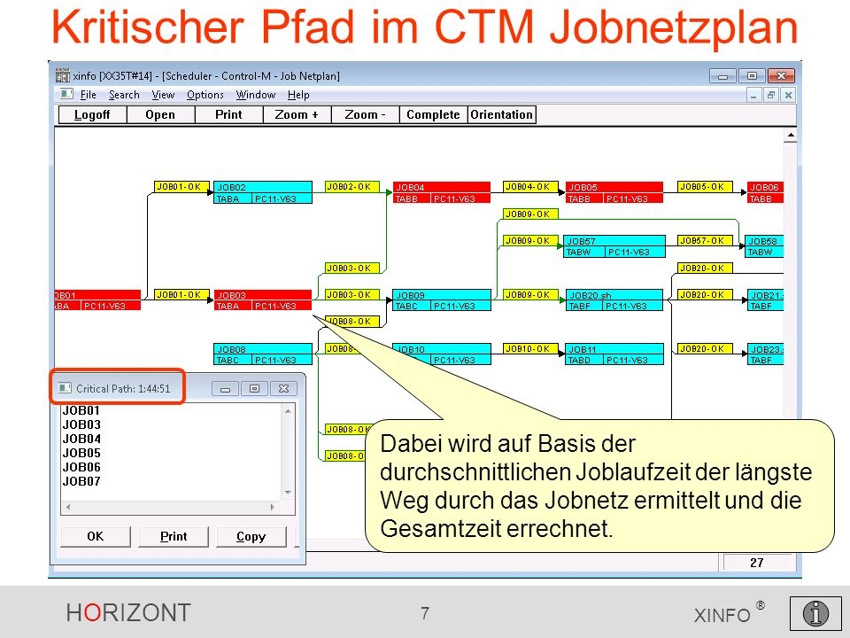 HORIZONT 7 XINFO ® Kritischer Pfad im CTM Jobnetzplan Dabei wird auf Basis der durchschnittlichen Joblaufzeit der längste Weg durch das Jobnetz ermitt