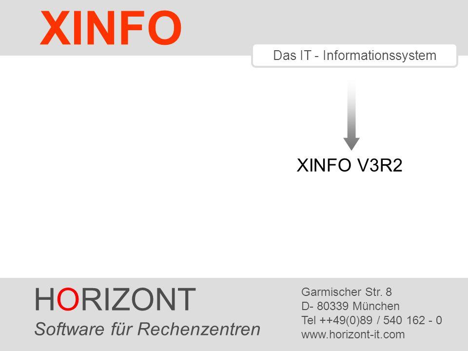 HORIZONT 2 XINFO ® XINFO V3R2 Neue Scanner für DS (Distributed Systems) Installation ohne z/OS Datenbank jetzt auch MS-SQL (Microsoft SQL Server) Control-M Erweiterungen UC4 Erweiterungen XINFO 3.2 ist seit März 2006 verfügbar.