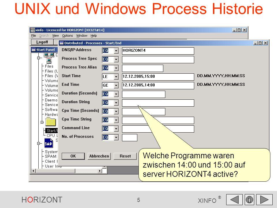 HORIZONT 5 XINFO ® UNIX und Windows Process Historie Welche Programme waren zwischen 14:00 und 15:00 auf server HORIZONT4 active?