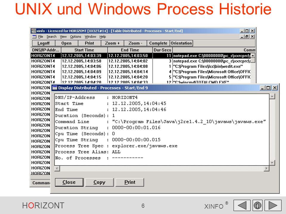 HORIZONT 7 XINFO ® UNIX und Windows Process Historie Wie groß war die Auslastung der Maschine?