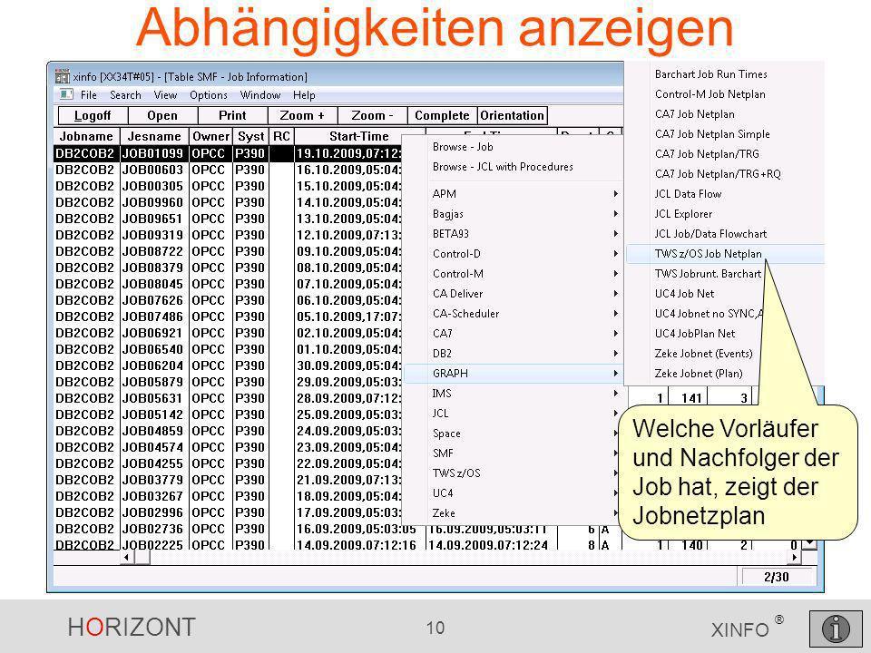 HORIZONT 10 XINFO ® Abhängigkeiten anzeigen Welche Vorläufer und Nachfolger der Job hat, zeigt der Jobnetzplan
