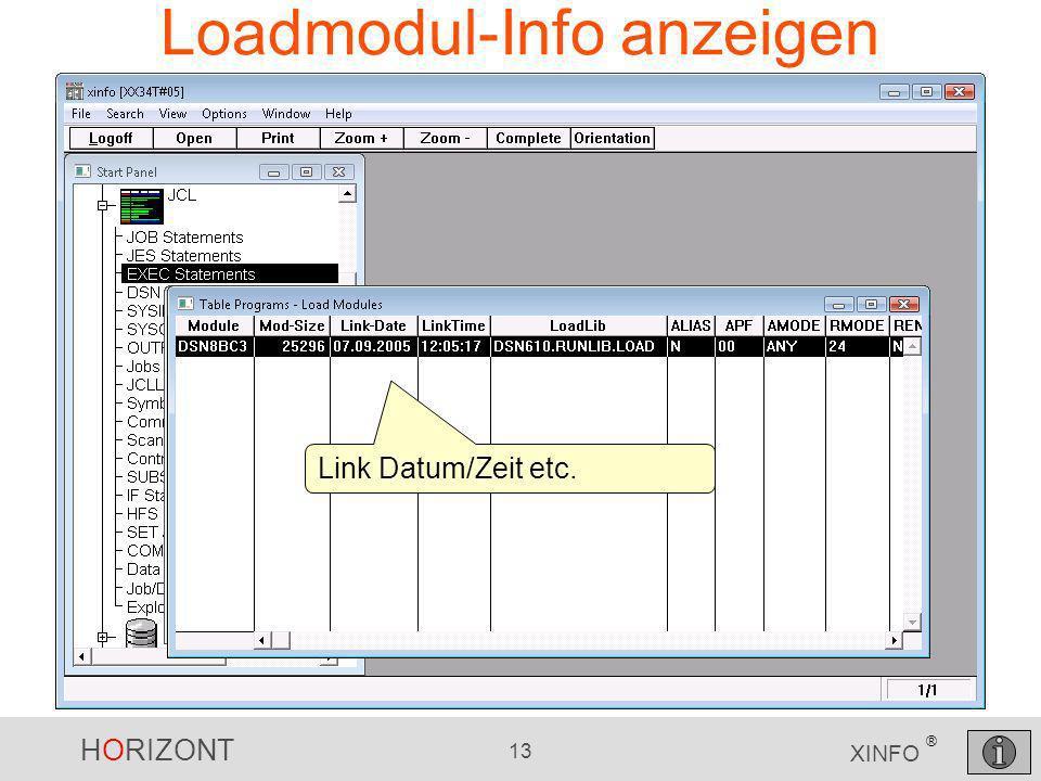 HORIZONT 13 XINFO ® Loadmodul-Info anzeigen Link Datum/Zeit etc.