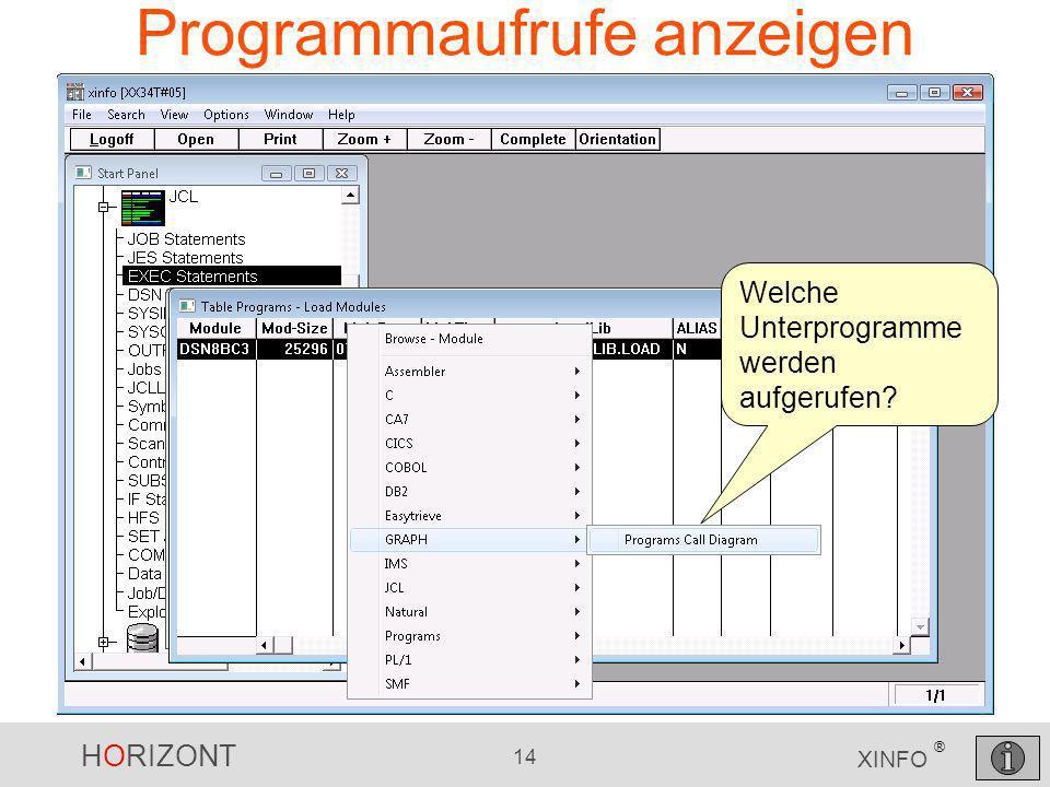 HORIZONT 14 XINFO ® Programmaufrufe anzeigen Welche Unterprogramme werden aufgerufen?
