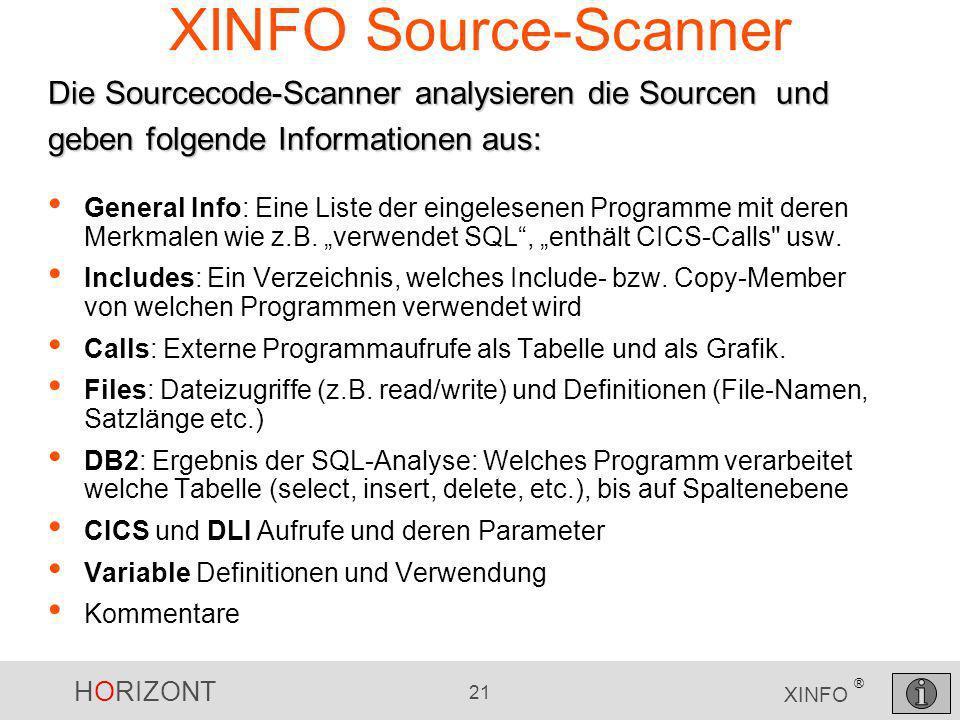 HORIZONT 21 XINFO ® XINFO Source-Scanner General Info: Eine Liste der eingelesenen Programme mit deren Merkmalen wie z.B. verwendet SQL, enthält CICS-