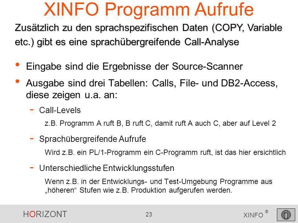 HORIZONT 23 XINFO ® Eingabe sind die Ergebnisse der Source-Scanner Ausgabe sind drei Tabellen: Calls, File- und DB2-Access, diese zeigen u.a. an: - Ca