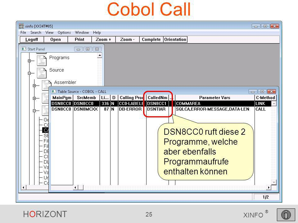 HORIZONT 25 XINFO ® Cobol Call DSN8CC0 ruft diese 2 Programme, welche aber ebenfalls Programmaufrufe enthalten können