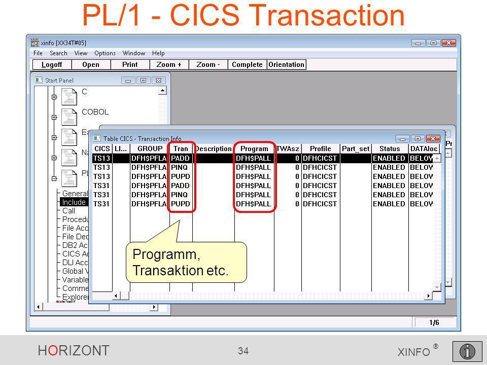 HORIZONT 34 XINFO ® PL/1 - CICS Transaction Programm, Transaktion etc.