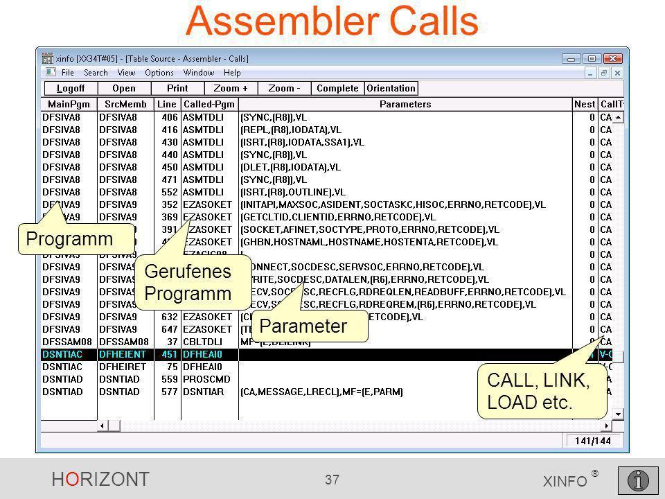 HORIZONT 37 XINFO ® Assembler Calls Programm Gerufenes Programm Parameter CALL, LINK, LOAD etc.