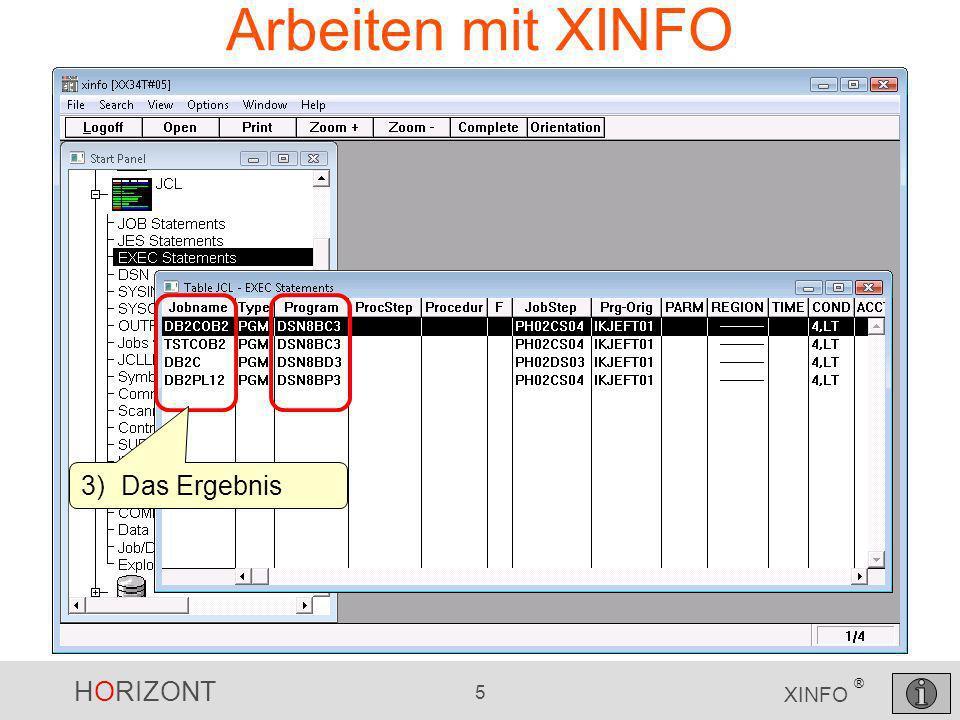 HORIZONT 36 XINFO ® Assembler Calls Suchkriterien eingeben