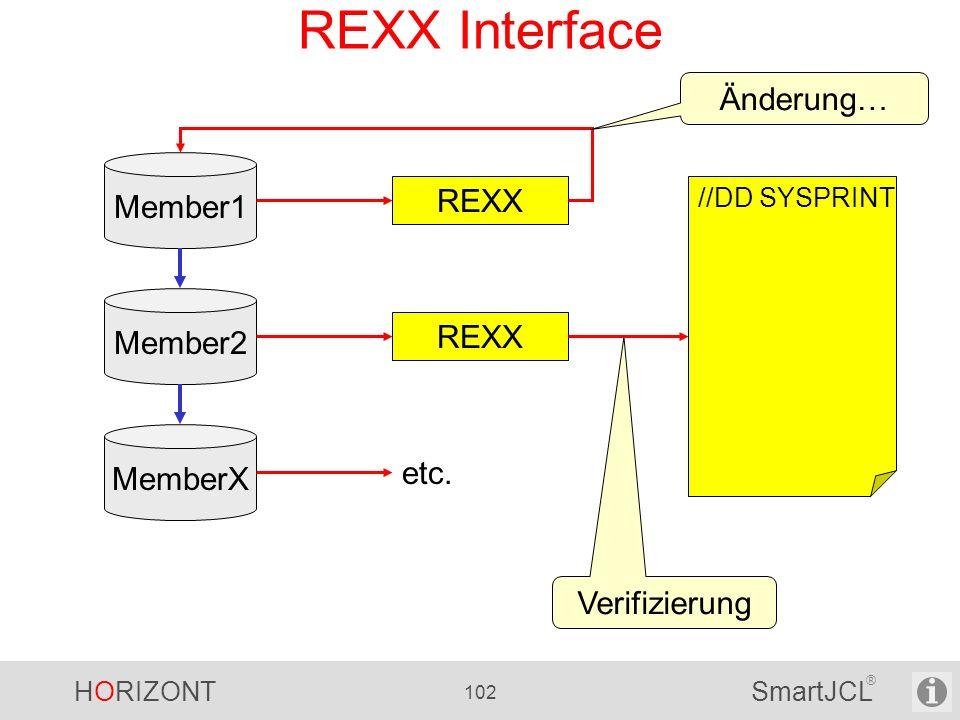 HORIZONT 102 SmartJCL ® REXX Interface Member1 REXX //DD SYSPRINT Änderung… Verifizierung Member2 REXX MemberX etc.