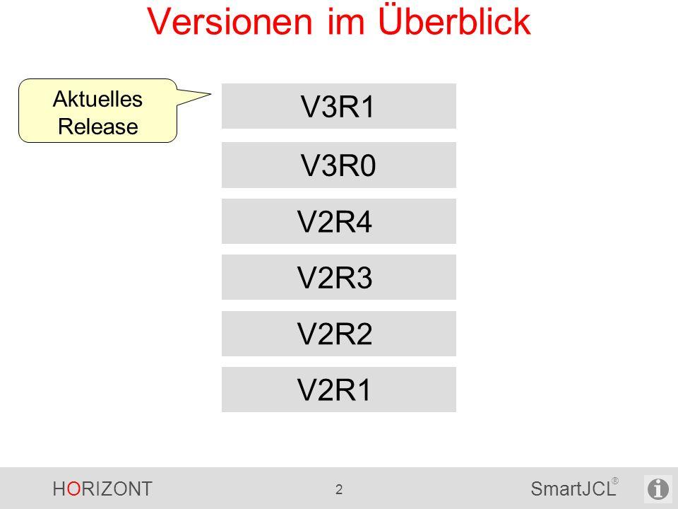 HORIZONT 3 SmartJCL ® SmartJCL 3.1 Eine Reihe neuer Parameter und Optionen für JCL Check und Reformat - Lesen der DB2 Subsysteme aus System-Kontrollblöcken - Reformatieren ausgewählter oder geänderter JCL Statements - Steuern, wie ISPF Member Statistik im Ausgabefile JCKJCLO gesetzt wird - Check TSO Programme SmartJCL V3R1 ist im September 2011 verfügbar.