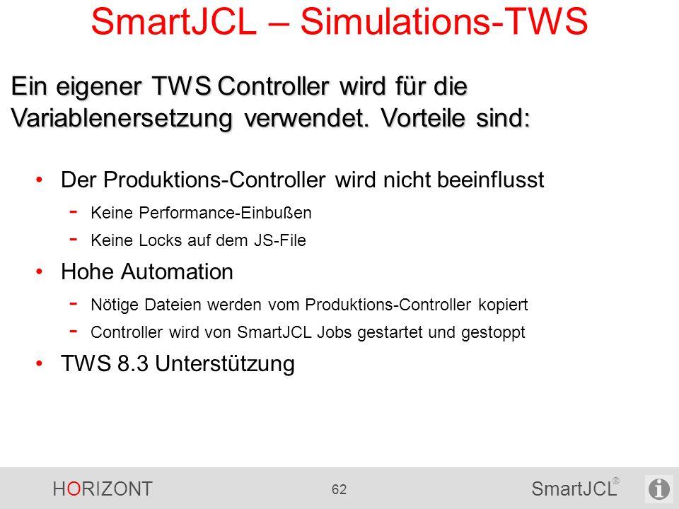HORIZONT 62 SmartJCL ® SmartJCL – Simulations-TWS Der Produktions-Controller wird nicht beeinflusst - Keine Performance-Einbußen - Keine Locks auf dem