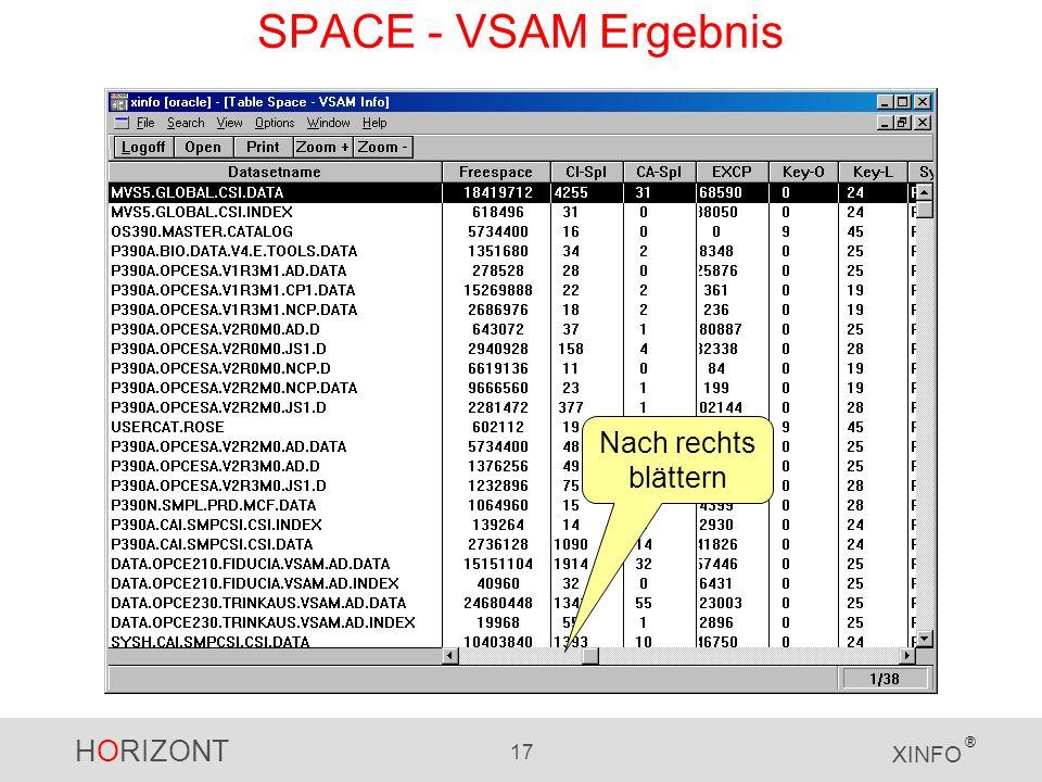 HORIZONT 17 XINFO ® SPACE - VSAM Ergebnis Nach rechts blättern