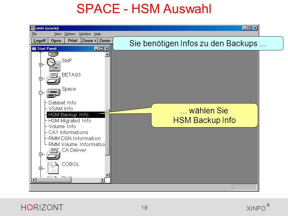 HORIZONT 19 XINFO ®... wählen Sie HSM Backup Info Sie benötigen Infos zu den Backups... SPACE - HSM Auswahl