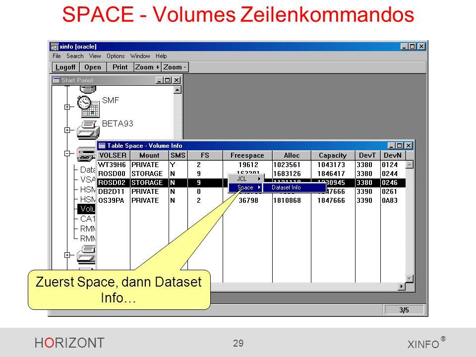 HORIZONT 29 XINFO ® SPACE - Volumes Zeilenkommandos Zuerst Space, dann Dataset Info…