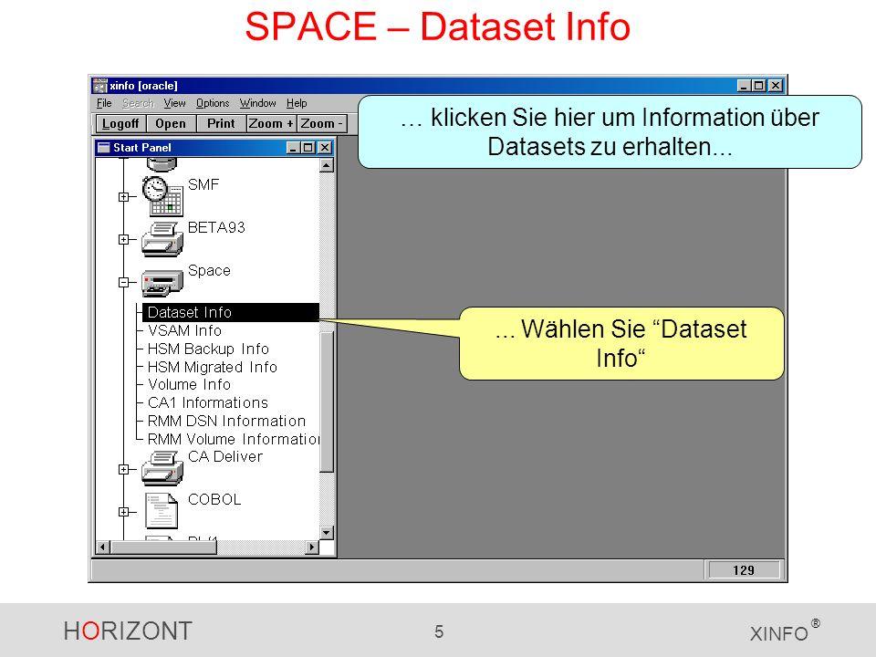 HORIZONT 5 XINFO ®... Wählen Sie Dataset Info … klicken Sie hier um Information über Datasets zu erhalten... SPACE – Dataset Info