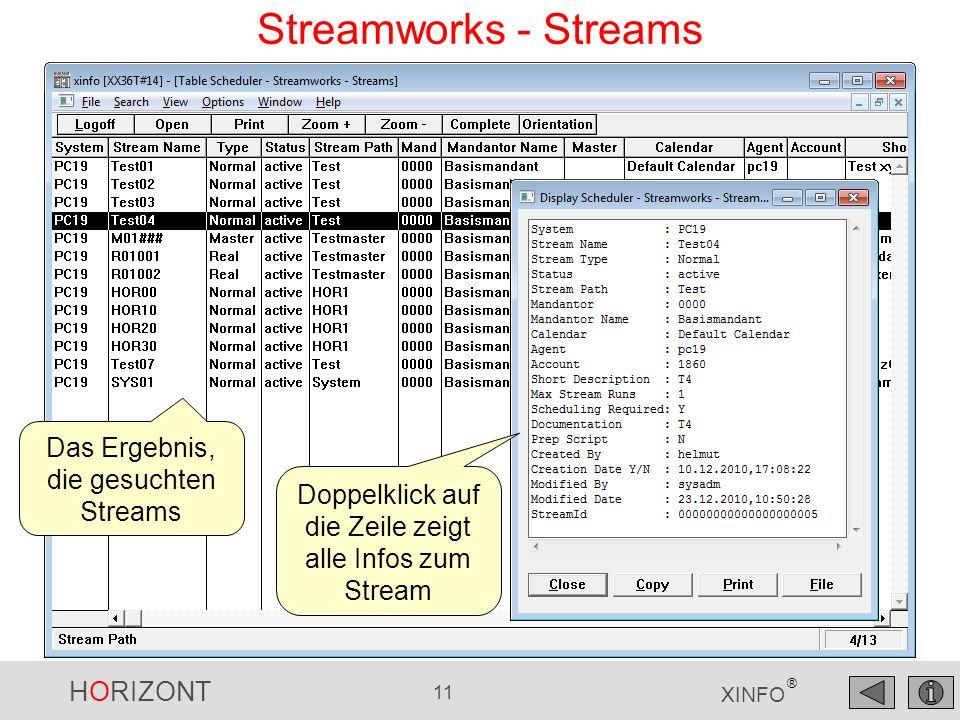 HORIZONT 11 XINFO ® Streamworks - Streams Das Ergebnis, die gesuchten Streams Doppelklick auf die Zeile zeigt alle Infos zum Stream
