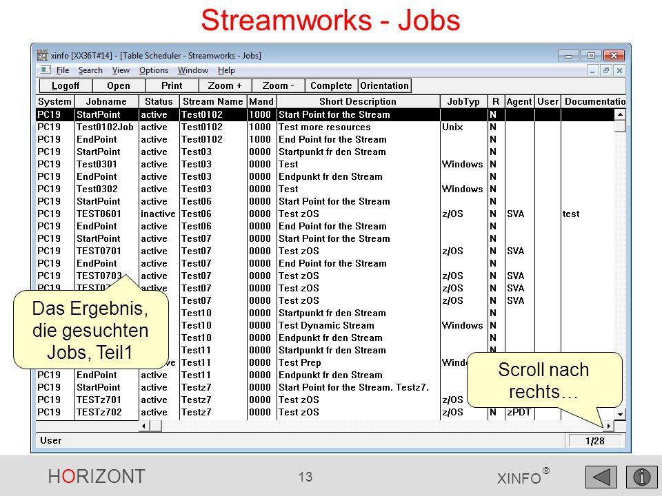 HORIZONT 13 XINFO ® Streamworks - Jobs Das Ergebnis, die gesuchten Jobs, Teil1 Scroll nach rechts…