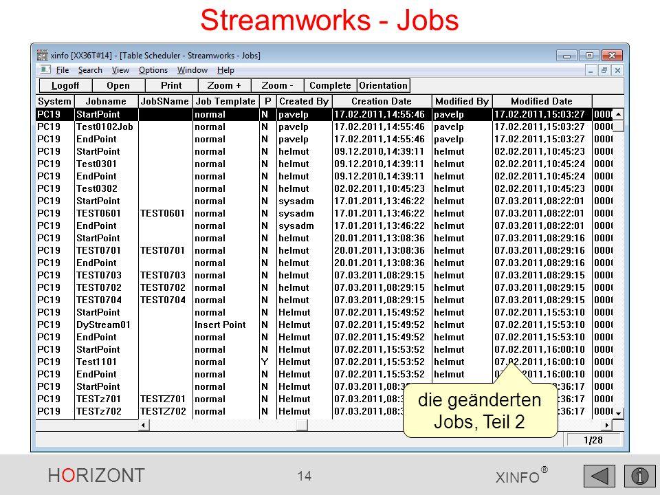 HORIZONT 14 XINFO ® Streamworks - Jobs die geänderten Jobs, Teil 2