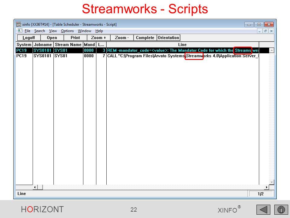 HORIZONT 22 XINFO ® Streamworks - Scripts