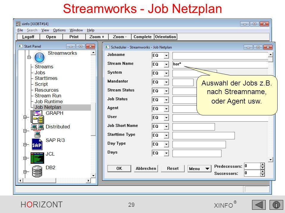 HORIZONT 29 XINFO ® Streamworks - Job Netzplan Auswahl der Jobs z.B. nach Streamname, oder Agent usw.