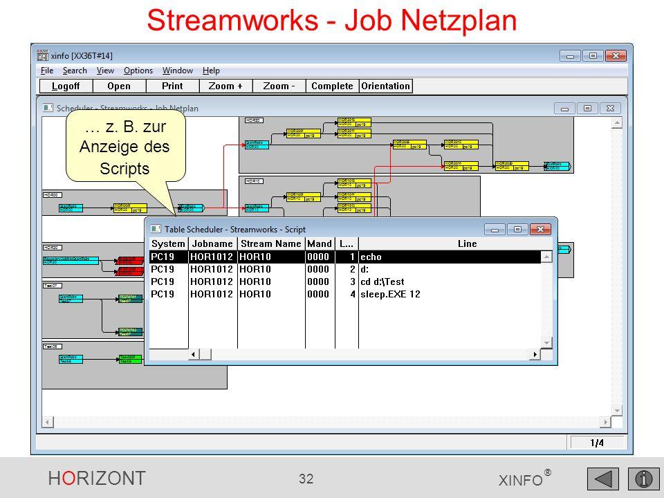 HORIZONT 32 XINFO ® Streamworks - Job Netzplan … z. B. zur Anzeige des Scripts
