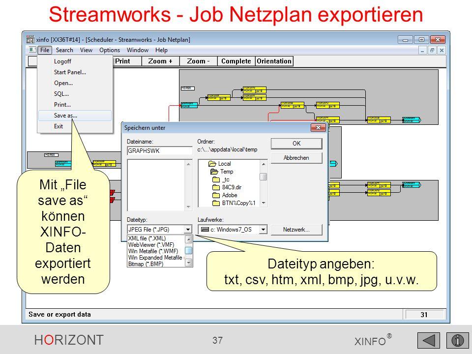 HORIZONT 37 XINFO ® Streamworks - Job Netzplan exportieren Mit File save as können XINFO- Daten exportiert werden Dateityp angeben: txt, csv, htm, xml