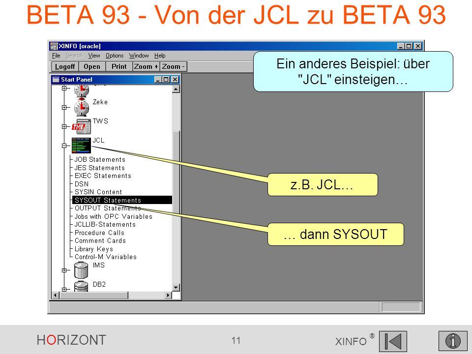 HORIZONT 11 XINFO ® BETA 93 - Von der JCL zu BETA 93 Ein anderes Beispiel: über