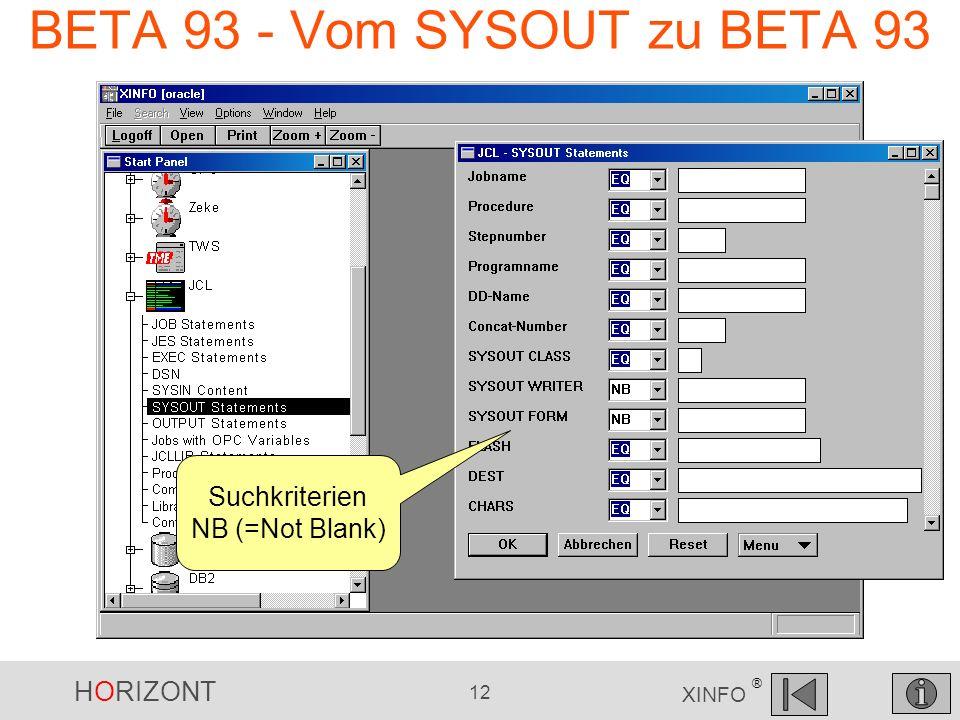 HORIZONT 12 XINFO ® BETA 93 - Vom SYSOUT zu BETA 93 Suchkriterien NB (=Not Blank)