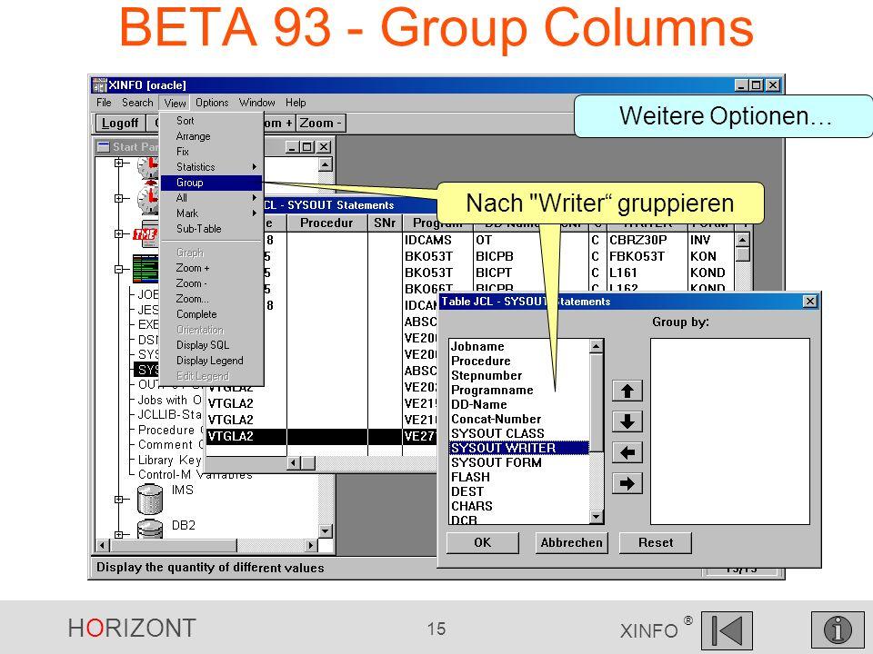 HORIZONT 15 XINFO ® BETA 93 - Group Columns Nach