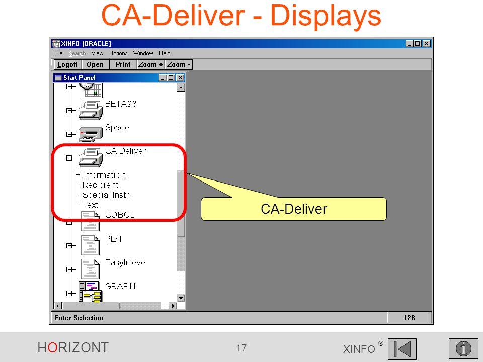 HORIZONT 17 XINFO ® CA-Deliver - Displays CA-Deliver