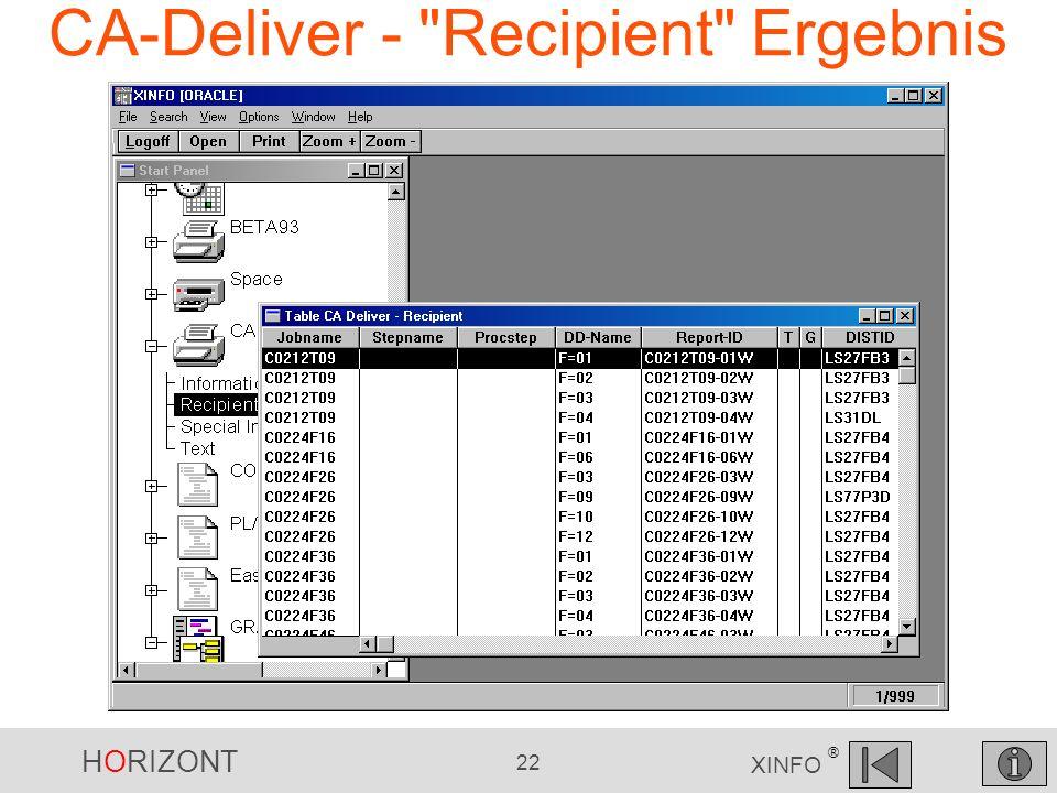 HORIZONT 22 XINFO ® CA-Deliver -