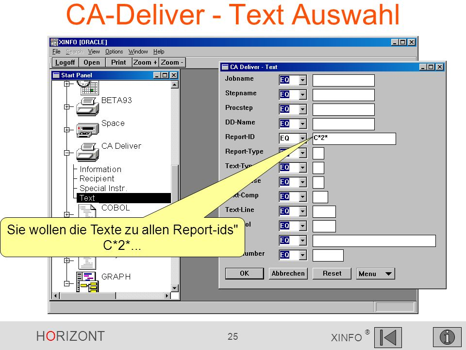 HORIZONT 25 XINFO ® CA-Deliver - Text Auswahl Sie wollen die Texte zu allen Report-ids