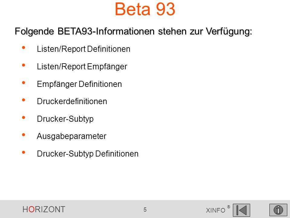 HORIZONT 6 XINFO ® BETA 93 - Start Panel... BETA93 auswählen