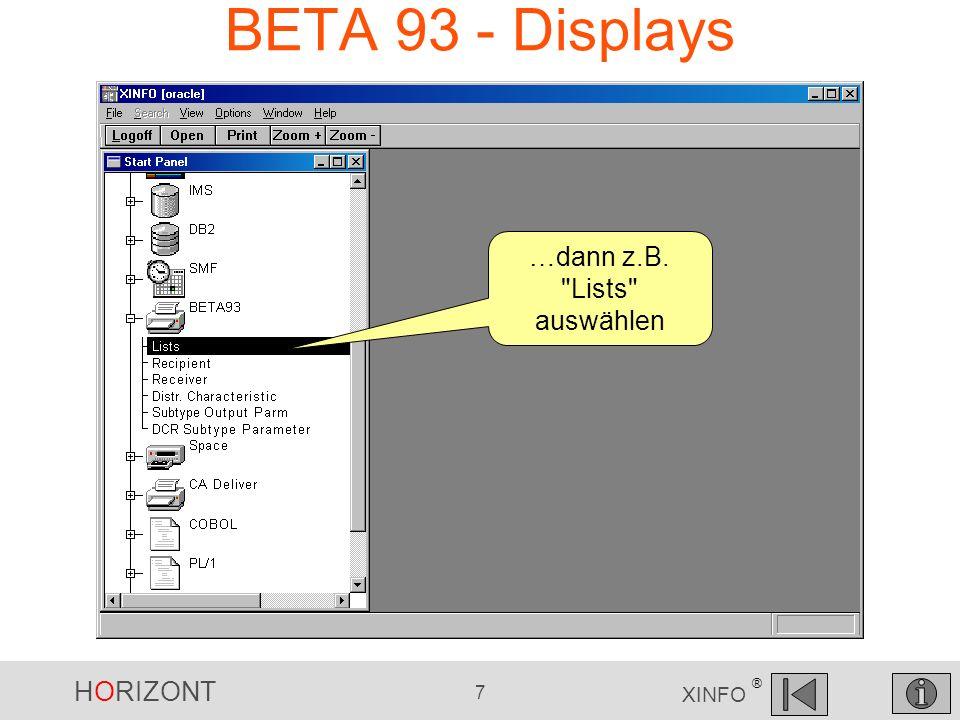 HORIZONT 8 XINFO ® BETA 93 - Lists Auswahl Suchkriterien