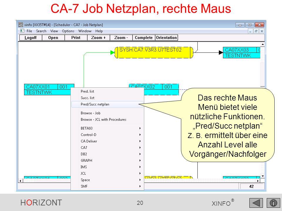 HORIZONT 20 XINFO ® CA-7 Job Netzplan, rechte Maus Das rechte Maus Menü bietet viele nützliche Funktionen. Pred/Succ netplan Z. B. ermittelt über eine