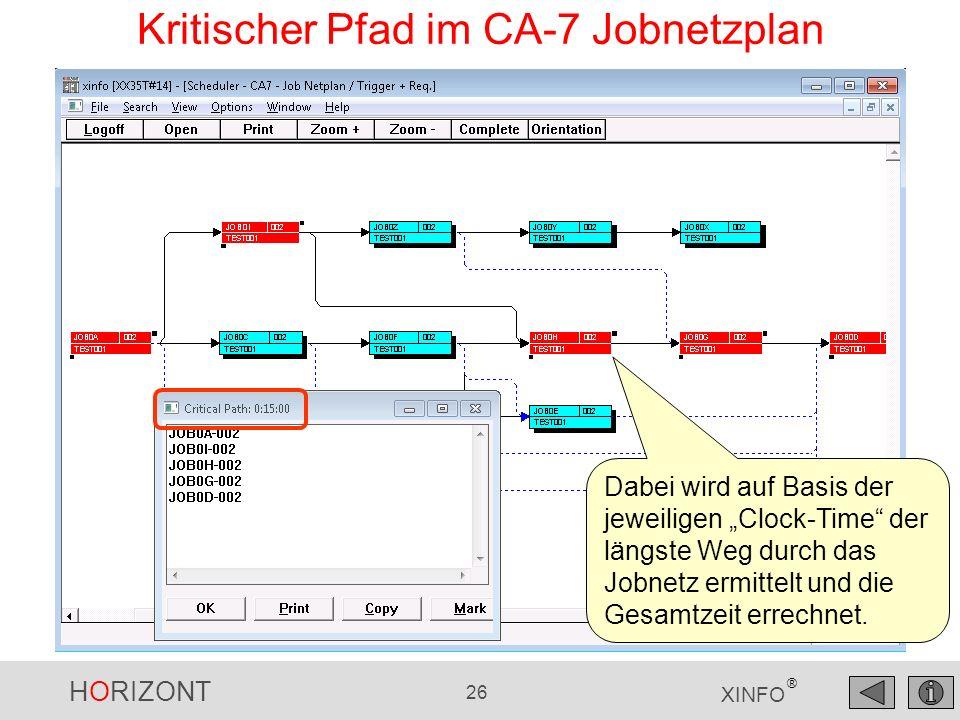 HORIZONT 26 XINFO ® Kritischer Pfad im CA-7 Jobnetzplan Dabei wird auf Basis der jeweiligen Clock-Time der längste Weg durch das Jobnetz ermittelt und die Gesamtzeit errechnet.