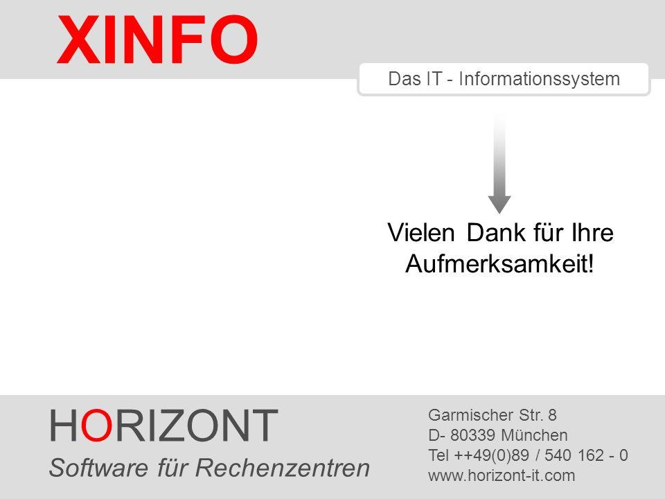 HORIZONT 27 XINFO ® Vielen Dank für Ihre Aufmerksamkeit! HORIZONT Software für Rechenzentren Garmischer Str. 8 D- 80339 München Tel ++49(0)89 / 540 16