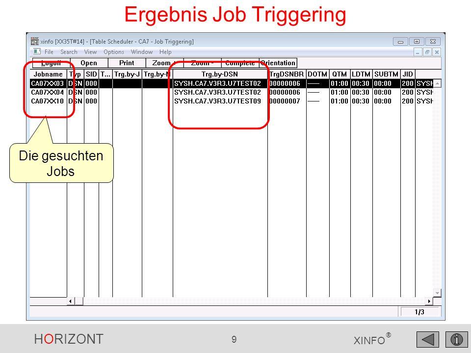 HORIZONT 9 XINFO ® Ergebnis Job Triggering Die gesuchten Jobs